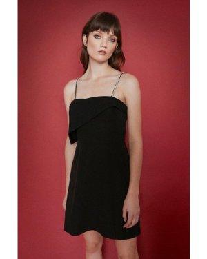 Womens Diamante Strap Assymetrical Mini Dress - black, Black