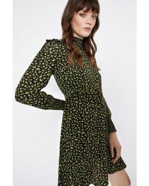 Womens High Neck Floral Smock Dress - black, Black