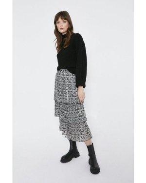 Womens Floral Tiered Pleat Midi Skirt - black, Black
