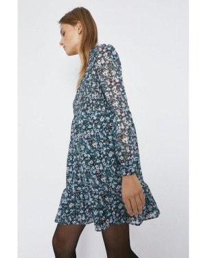 Womens Ditsy Print Smocked Detail Dress - blue, Blue