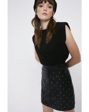 Womens Studded Leather Pelmet Skirt - black, Black