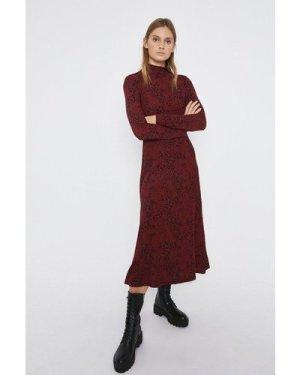 Womens Mixed Animal Print Midi Dress - black, Black