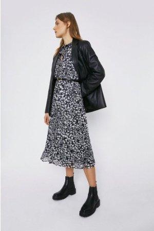 Womens Pleated Midi Dress - black, Black