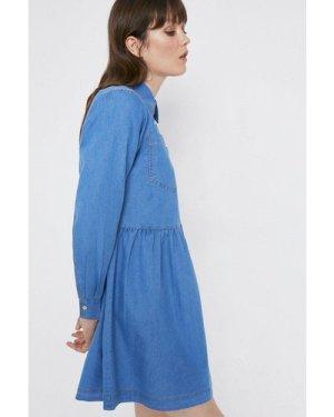 Womens Denim Full Skirt Mini Shirt Dress - mid wash, Mid Wash