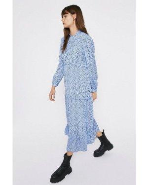 Womens Tiered Midaxi Spot Dress - pale blue, Pale Blue