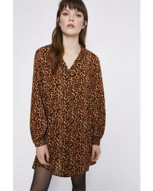 Womens Long Sleeve Oversized Shirt Dress - brown, Brown