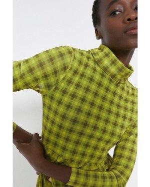 Womens Roll Neck Mesh Printed Dress - yellow, Yellow