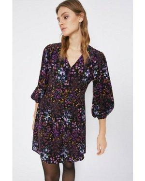 Womens Purple Floral Mini Tea Dress, Purple