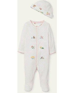 Organic Sleepsuit & Hat Set Pink Baby Boden, Pink