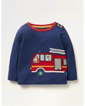 Fire Truck Appliqué T-shirt Blue Baby Boden, Blue
