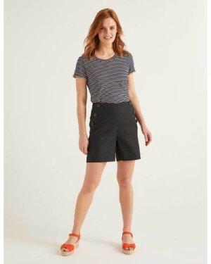 Falmouth Linen Shorts Black Women Boden, Black