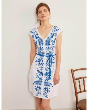 Tanya Embroidered Jersey Dress White Women Boden, White