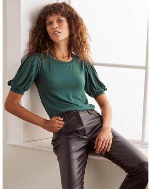 Holly Puff Sleeve Jersey Top Green Women Boden, Green