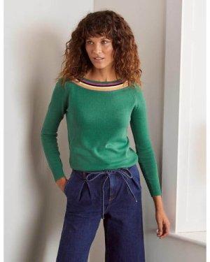 Kinghorne Cotton Jumper Green Women Boden, Green