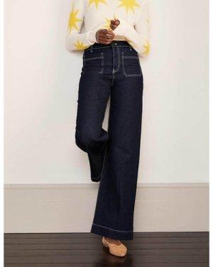 Patch Pocket Wide Leg Jeans Denim Women Boden, Indigo