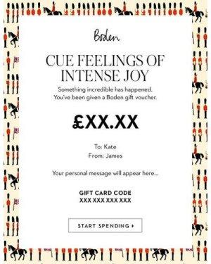 E Gift Voucher UK9 Boden, UK9