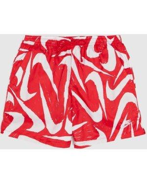 Nike Flow AOP Swim Short, Red/White