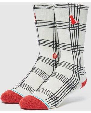 Stance Rat Plaid Socks, White/Black/Red