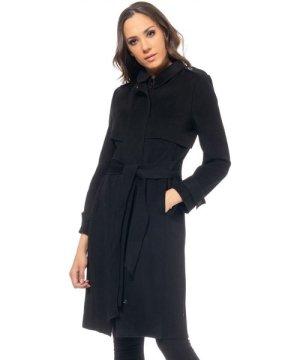 Tantra Long woolen coat with flap on the upper part , zipper and button closure belt waist shirt collar