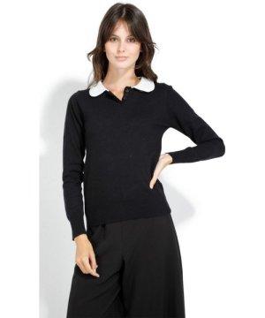 William De Faye Round Neck Long Sleeve Sweater in Fuschia