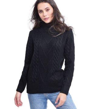 C&Jo C&JO Turtleneck Twisted Yarn Sweater in Black