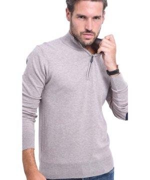 C&Jo C&JO Half-Zip Elbow Patch Sweater in Beige