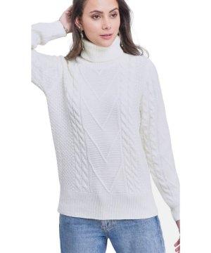 C&Jo C&JO Turtleneck Twisted Yarn Sweater in Natural