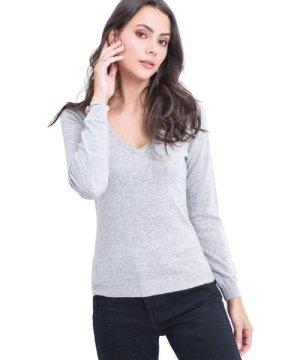 Assuili V-neck Sweater in Light Grey