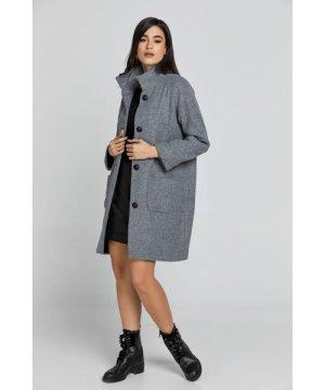 Conquista Wool Blend Grey Coat by Fashion
