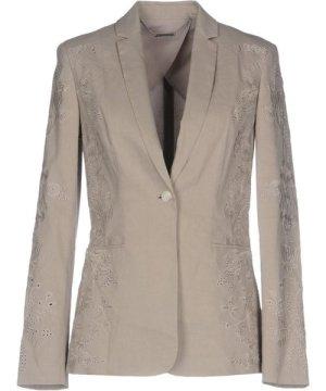 Elie Tahari Dove Grey Linen Single Breasted Jacket