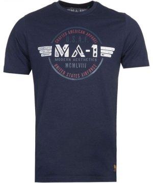 MA-1 F16 Airforce Logo Print Navy T-Shirt
