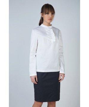 Conquista White Frill Detail Blouse in Poplin Fabric