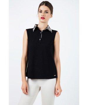 Conquista Silk Blend Sleeveless Top with Polo Collar