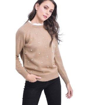 C&Jo C&JO Pearl Beaded Shirt Collar Sweater in Beige