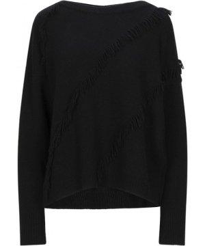 Kaos Black Fringed Lightweight Knit Jumper