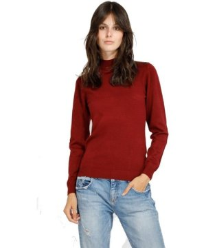 William De Faye Funnel Neck Long Sleeve Sweater in Maroon
