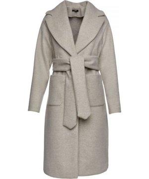 Conquista Long Sand Colour Mélange Mouflon Coat with Belt