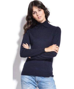 Assuili Shirt Collar Sweater in Navy