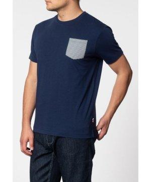 Merc London Eagle Short Sleeve T-Shirt With Stripe Pocket In Navy