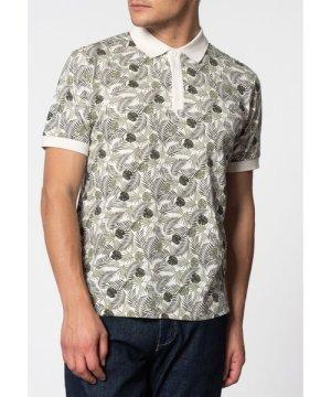Merc London Gaston Short Sleeve Palm Print Polo Shirt In Off White