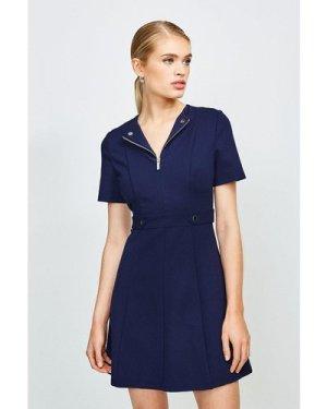 Karen Millen Zip Front Ponte Short Sleeve Dress -, Navy