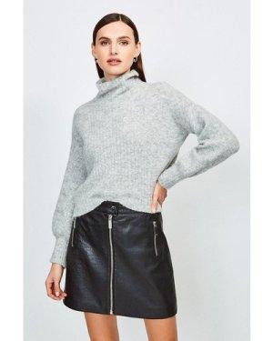 Karen Millen Textured Leather Zip Skirt -, Black