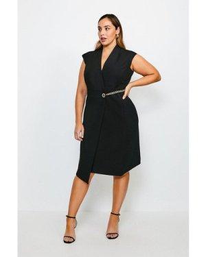 Karen Millen Curve Compact Stretch Chain Link Wrap Dress -, Black