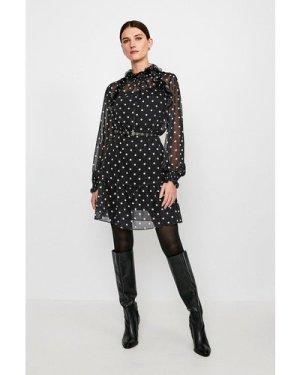 Karen Millen Polka Dot Long Sleeve Short Dress -, Black