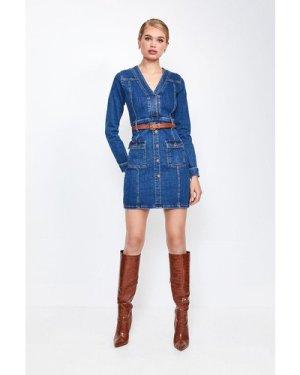 Karen Millen Long Sleeve Button and Pocket Denim Dress -, Dark Wash