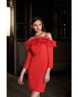 Karen Millen Long Sleeve Feather Bardot Dress -, Red