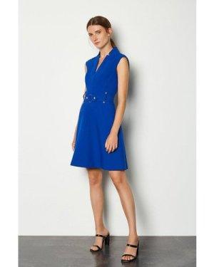 Karen Millen Forever Cinch Waist Cap Sleeve A-Line Dress -, Blue