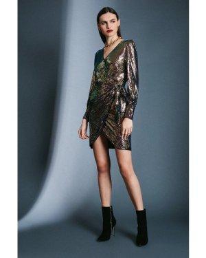 Karen Millen Sequin Tie Waist Wrap Dress -, Black