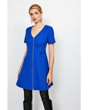 Karen Millen Structured Crepe Quilted Waist A- Line Dress -, Blue