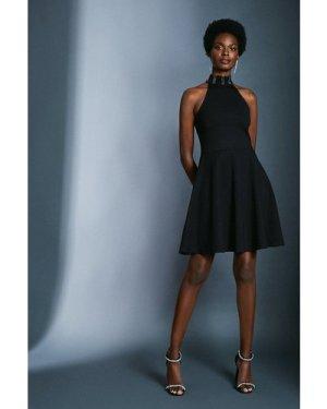 Karen Millen Hotfix Halter Ponte Dress -, Black